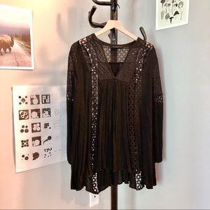 Black Long Sleeve Dress with Crochet Designs